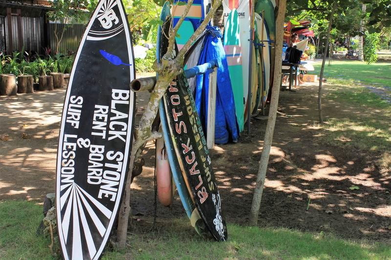 マッシュルームロックのすぐ裏側にはブラックストーンという初心者向けの波が立っていてレンタルボード屋、サーフスクールで賑わっています。