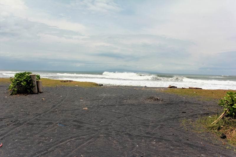 正面からの景色はこんな感じのひたすら黒砂が続くだだっ広いビーチ
