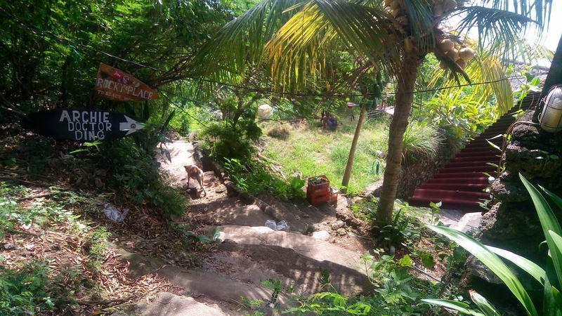 路地を抜けたら階段が現れます。ポイントまで30mほど崖を下っていきます。